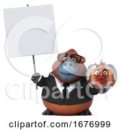 Poster, Art Print Of 3d Business Orangutan Monkey On A White Background