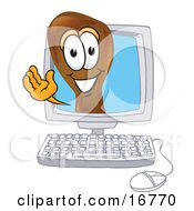 Chicken Drumstick Mascot Cartoon Character Waving From Inside A Computer Screen