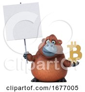 Poster, Art Print Of 3d Orangutan Monkey Holding A Bitcoin Symbol On A White Background