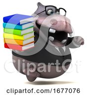 3d Business Hippo On A White Background