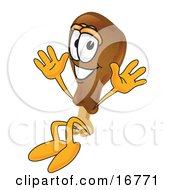 Clipart Picture Of A Chicken Drumstick Mascot Cartoon Character Jumping by Toons4Biz
