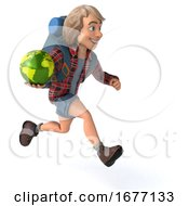 Poster, Art Print Of Man Solo Traveling Backpacker On A White Background