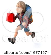 Man Solo Traveling Backpacker On A White Background