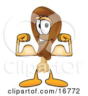 Chicken Drumstick Mascot Cartoon Character Flexing His Arm Muscles