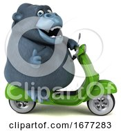 Poster, Art Print Of 3d Gorilla Riding A Scooter On A White Background