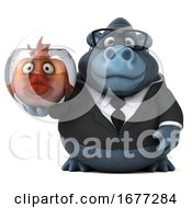 Poster, Art Print Of 3d Business Gorilla Holding A Fish Bowl On A White Background