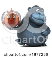 3d Gorilla Holding A Fish Bowl On A White Background