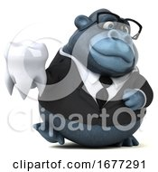 Poster, Art Print Of 3d Business Gorilla On A White Background