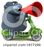3d Gorilla Riding A Scooter On A White Background