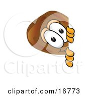 Clipart Picture Of A Chicken Drumstick Mascot Cartoon Character Peeking Around A Corner