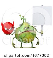 Poster, Art Print Of 3d Green Germ On A White Background