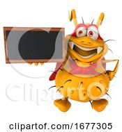 3d Yellow Germ Monster Holding A Blackboard On A White Background
