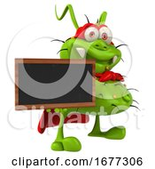 3d Green Super Germ Monster Holding A Blackboard On A White Background