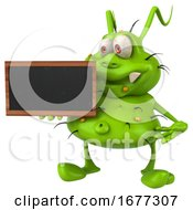3d Green Germ Monster Holding A Blackboard On A White Background