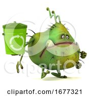 3d Green Germ On A White Background
