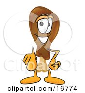 Chicken Drumstick Mascot Cartoon Character Pointing At The Viewer