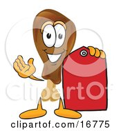 Chicken Drumstick Mascot Cartoon Character Holding A Red Sales Price Tag