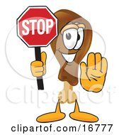 Chicken Drumstick Mascot Cartoon Character Holding A Stop Sign