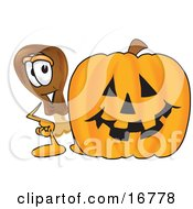 Chicken Drumstick Mascot Cartoon Character With A Carved Halloween Pumpkin