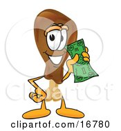 Clipart Picture Of A Chicken Drumstick Mascot Cartoon Character Holding A Dollar Bill by Toons4Biz