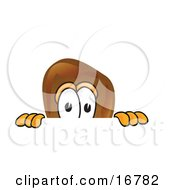 Clipart Picture Of A Chicken Drumstick Mascot Cartoon Character Peeking Over A Surface by Toons4Biz