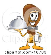 Chicken Drumstick Mascot Cartoon Character Dressed As A Waiter And Holding A Serving Platter