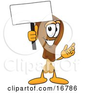 Chicken Drumstick Mascot Cartoon Character Holding A Blank Sign