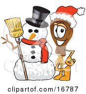 Chicken Drumstick Mascot Cartoon Character With A Snowman On Christmas