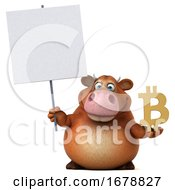 3d Brown Cow On A White Background