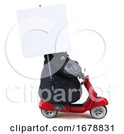 3d Black Bull Riding A Scooter On A White Background