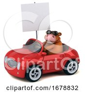 3d Brown Cow Driving A Convertible On A White Background