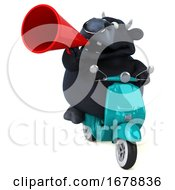 Poster, Art Print Of 3d Black Bull Riding A Scooter On A White Background