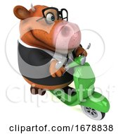 3d Brown Business Cow Riding A Scooter On A White Background
