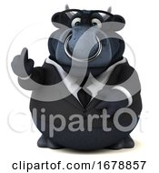 Poster, Art Print Of 3d Black Business Bull On A White Background