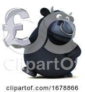 Poster, Art Print Of 3d Black Bull Holding A Pound Currency Symbol On A White Background