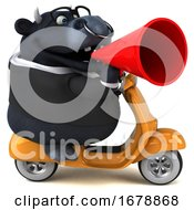 Poster, Art Print Of 3d Black Business Bull Riding A Scooter On A White Background