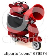 Poster, Art Print Of 3d Red Business Bull Riding A Scooter On A White Background