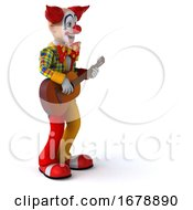 3d Funky Clown On A White Background