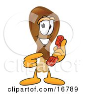 Chicken Drumstick Mascot Cartoon Character Holding A Telephone