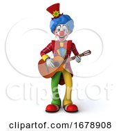 Poster, Art Print Of 3d Colorful Clown On A White Background