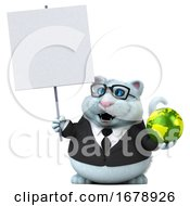 Poster, Art Print Of 3d White Business Kitty Cat On A White Background