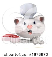 Poster, Art Print Of 3d Chef White Cat On A White Background