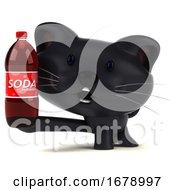 3d Black Kitten On A White Background