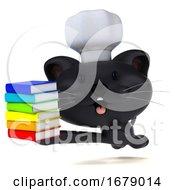 Poster, Art Print Of 3d Black Kitten Chef On A White Background