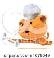 3d Chef Ginger Cat On A White Background