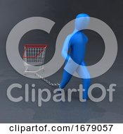 3d Blue Person Chained To A Burden
