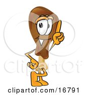Chicken Drumstick Mascot Cartoon Character Pointing Upwards