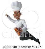 3d Young Black Male Chef With A Guitar On A White Background