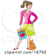 Stock Clipart Of A Fashionable Young Caucasian Brunette Woman Wearing A Lot Of Jewelery And Holding A Bag With Two Orange Kittens In It While The Mother Cat Leans And Rubs Against Her Leg