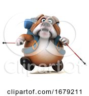 Poster, Art Print Of 3d Bulldog Backpacker On A White Background